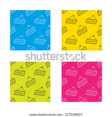For rent icon. Advertising banner tag sign. Textures with icon. Seamless patterns set. Vector - stock vector