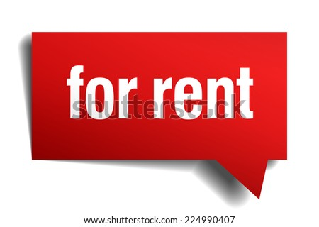 for rent red 3d realistic paper speech bubble - stock vector