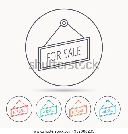 For sale icon. Advertising banner tag sign. Linear circle icons. - stock vector