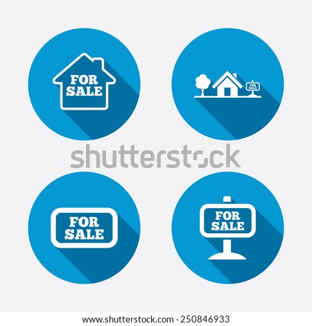 For sale icons. Real estate selling signs. Home house symbol. Circle concept web buttons. Vector - stock vector
