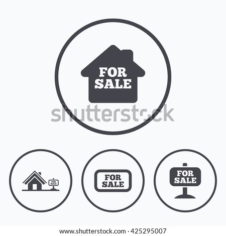 For sale icons. Real estate selling signs. Home house symbol. Icons in circles. - stock vector