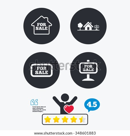 For sale icons. Real estate selling signs. Home house symbol. Star vote ranking. Client like and think bubble. Quotes with message. - stock vector