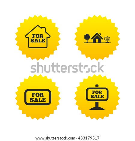 For sale icons. Real estate selling signs. Home house symbol. Yellow stars labels with flat icons. Vector - stock vector