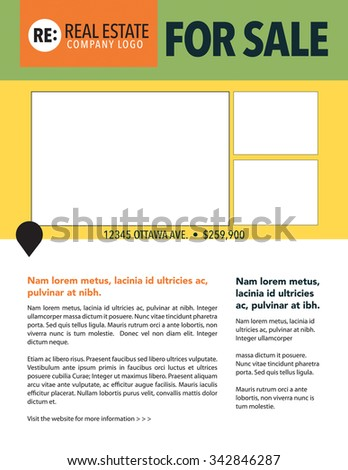 For sale sell sheet with photos and copy - stock vector