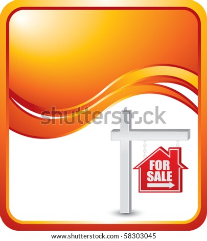 for sale sign orange wave background - stock vector