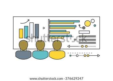 Forecast concept icon flat style. Business growth graph, finance market progress chart, financial investment, profit marketing, diagram stock increase, report and statistic data illustration - stock vector