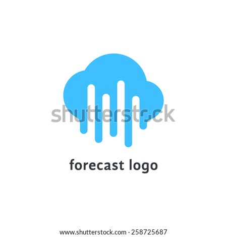 forecast logo with melted blue cloud. concept of daily forecasting, company brand, tv program, weather today. isolated on white background. flat style trendy modern branding design vector illustration - stock vector