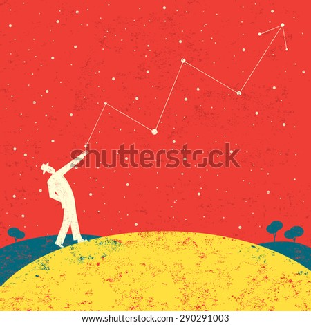 Forecasting future profitsA businessman forecasting future profits that are written in the stars. The man is on a separate labeled layer from the background. - stock vector
