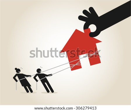 Foreclosure eviction repossessing mortgage recession bankruptcy tenant - stock vector