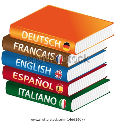 Foreign languages books. Vector icon. - stock vector