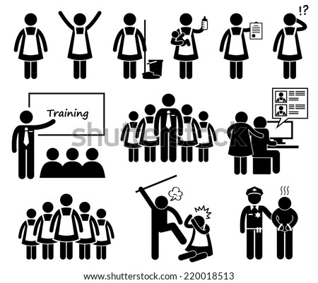 Foreign Maid Agency Stick Figure Pictogram Icons - stock vector