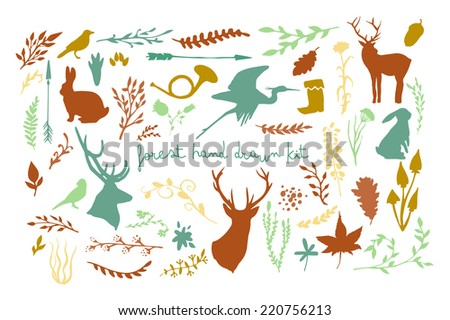 Forest animals and plants silhouette set. Hand drawn isolated vintage illustration - stock vector