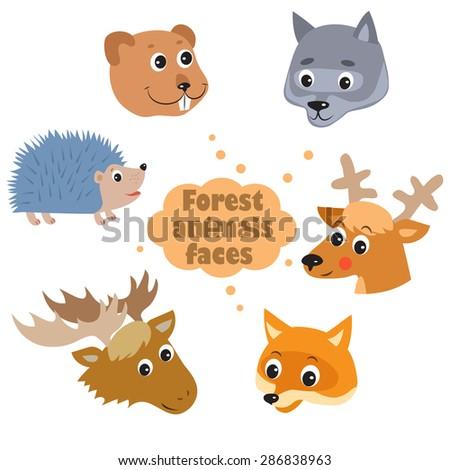 Forest animals faces icons set - hedgehog, beaver, wolf, deer, fox, elk. Zoo infographics design. Cartoon vector. - stock vector