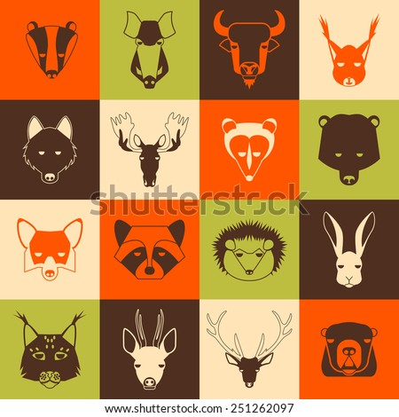 Forest animals icons set with cool design. Vector illustration - stock vector
