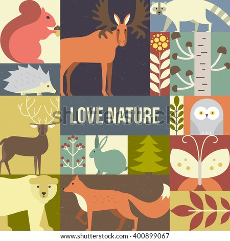 Forest animals made in geometric flat style. Reindeer, fox, moose, bear and other mammals and birds. Save the planet concept. Poster for children room or element for a banner. - stock vector