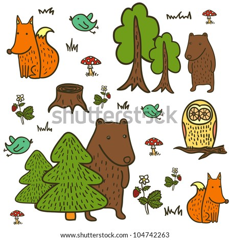 forest animals pattern - stock vector
