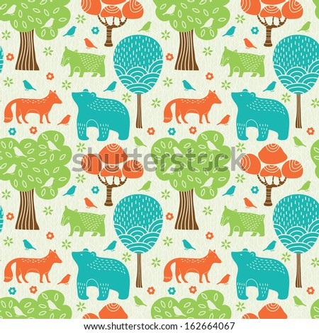 Forest animals seamless pattern - stock vector