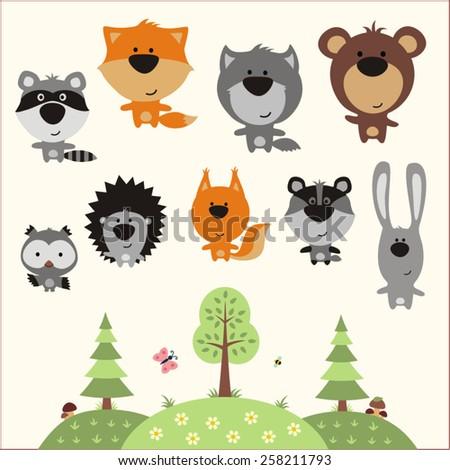 forest animals set - vector illustration - stock vector