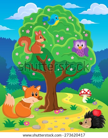 Forest animals topic image 3 - eps10 vector illustration. - stock vector