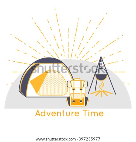Forest Camping on the hill. Camping graphic design emblem with sunburst. Wilderness adventure hiking camp at the mountain with grey and orange tourist tent, backpack and fire. Vector Illustration - stock vector