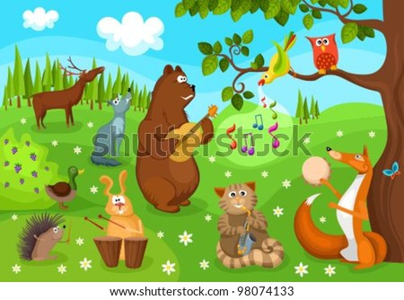 forest concert - stock vector