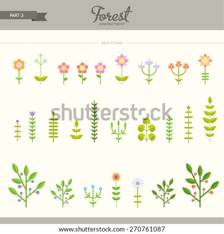 Forest constructor kit - part 3. Flowers and plants. Beautiful and trendy set of flat elements. Very useful to create backgrounds and patterns - stock vector