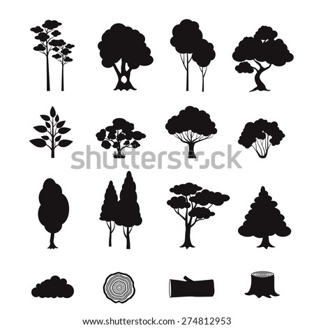 Forest elements black icons set with stump log trees isolated vector illustration - stock vector