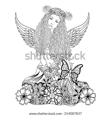 Forest fairy or nymph with wings and wreath on the head in flowers for adult anti stress Coloring Page with high details, illustration in zentangle style. Vector monochrome sketch. - stock vector