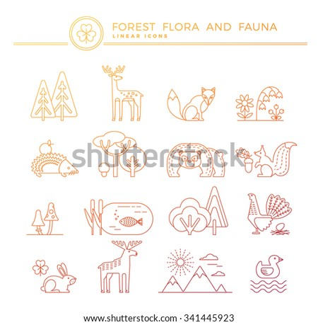 Forest flora and fauna. Set of linear vector icons.Trendy graphic style. - stock vector