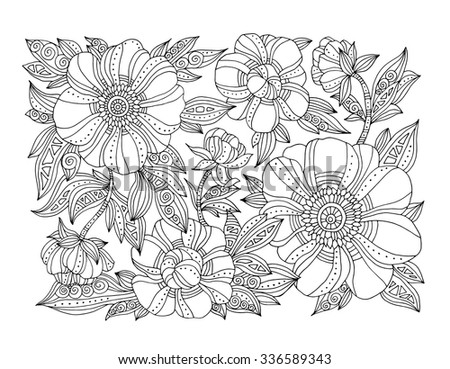 Forest flowers, floral pattern, peonies blossom, leaves. Vector. Coloring book page for adults. Hand drawn artwork. Bohemia concept for wedding invitation, card, branding, logo label. Black and white - stock vector