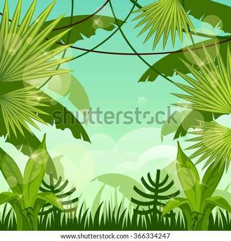 forest landscape. jungle. sky. - stock vector