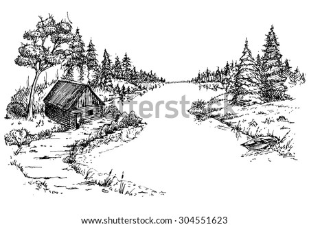 Forest, river, house, boat. Drawn pen on white paper - stock vector