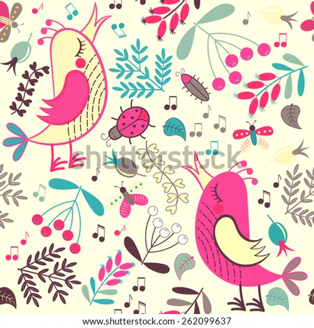 Forest seamless pattern. Floral background. Bird, butterfly, flower, leaf. Use it as pattern fills, web page background, surface textures, fabric or paper, backdrop design. Summer template. - stock vector
