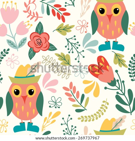 Forest seamless pattern. Floral background. Owl,  flower, leaf.Use it as pattern fills, web page background, surface textures, fabric or paper, backdrop design. Summer template. - stock vector