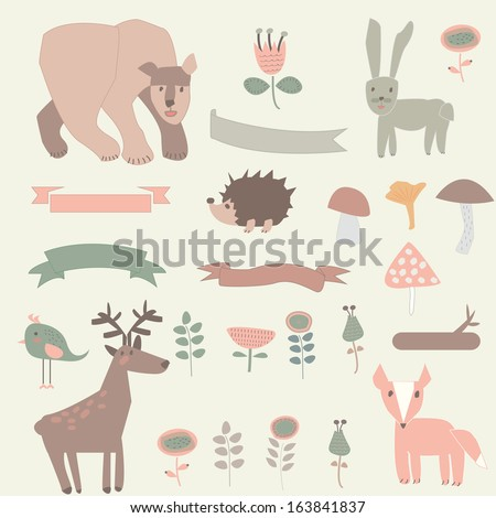 Forest set with cute bear, rabbit, deer, hedgehog, bird,  fox,  ribbons, mushrooms and flowers in cartoon style. - stock vector