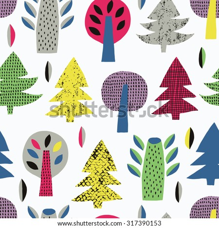 Forest tree seamless background. Vector illustration. - stock vector