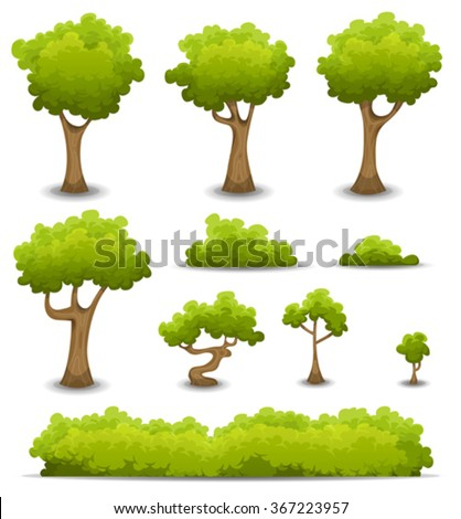 Forest Trees, Hedges And Bush Set/ Illustration of a set of cartoon spring or summer forest trees and other green forest elements, bonsai, foliage, bush and hedges - stock vector
