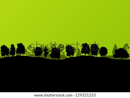 Forest trees silhouettes landscape illustration background vector - stock vector