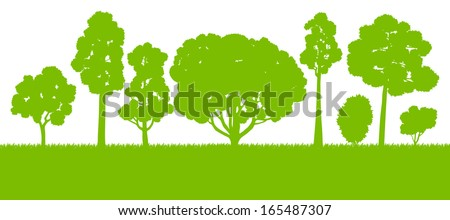 Forest trees silhouettes landscape illustration background vector card template concept - stock vector