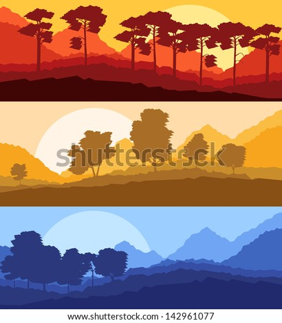 Forest trees silhouettes landscape illustration set - stock vector