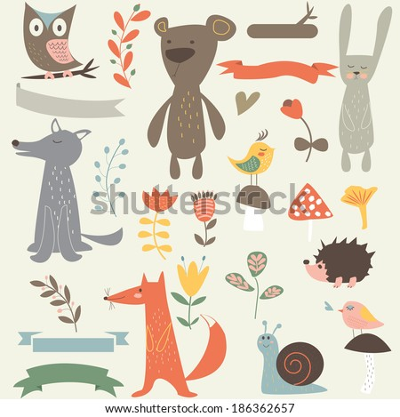Forest vector set with cute bear, owl, rabbit, wolf, fox, bird, snail, hedgehog, ribbons, flowers, hearts and mushrooms in cartoon style - stock vector