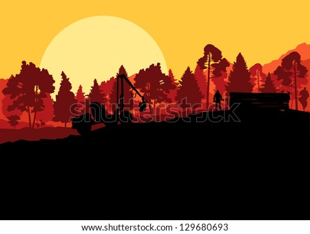 Forestry logger tractor and woodcutter in forest nature landscape illustration background vector - stock vector