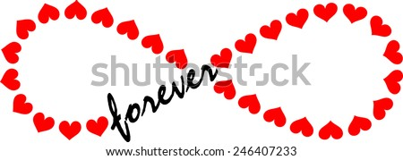 Forever Love, Infinity Loop, Hearts  - stock vector