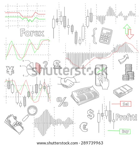 Forex market hand drawn vector background with business, financial data and diagrams - stock vector