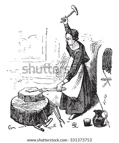 Forge in the fifteenth century, On after Fouquet, vintage engraved illustration. Magasin Pittoresque (1882). - stock vector