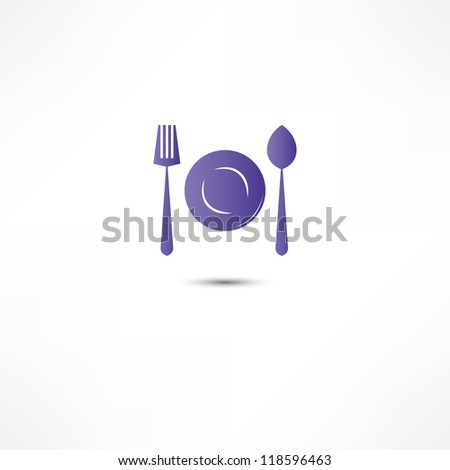 Fork And Spoon And Plate Icon - stock vector