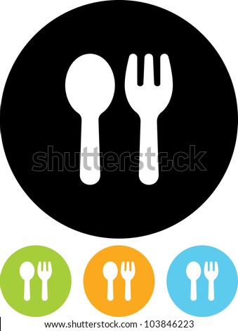 Fork and spoon emblem - Vector icon isolated - stock vector