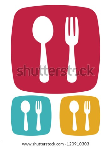 Fork and spoon icon - restaurant sign - stock vector
