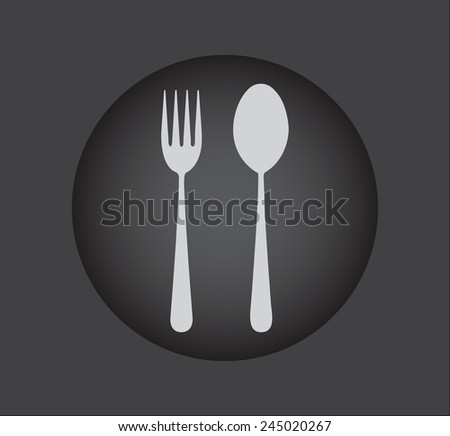 Fork and spoon icon - restaurant sign,black button - stock vector