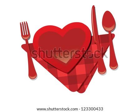 Fork, heart, knife - valentine's day restaurant - stock vector